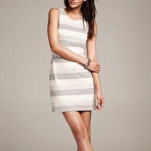 BR Metallic Striped Silver Shift Dress Sz 6